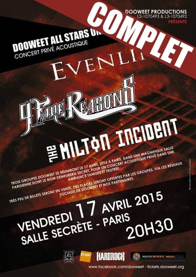 The Milton Incident + 9 Fake Reasons + Evenline @La Péniche Antipode – 17/04/2015