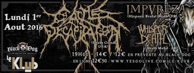 CATTLE DECAPITATION + IMPUREZA + WHISPER OF DEATH @ LE KLUB 01/08/16