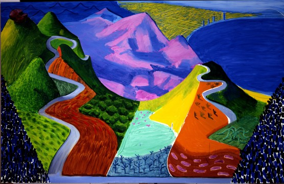 13David Hockney Pacific Coast Highway and Santa Monica 1990 Huile sur toile © David Hockney Photo Steve Oliver
