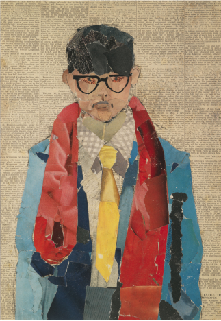 1David Hockney Self Portrait 1954 Collage sur papier journal © David Hockney photo Richard Schmidt - Copie (2)