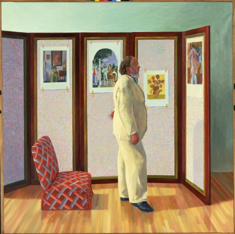 """LOOKING AT PICTURES ON A SCREEN"" 1977 OIL ON CANVAS 74 X 74"" © DAVID HOCKNEY"
