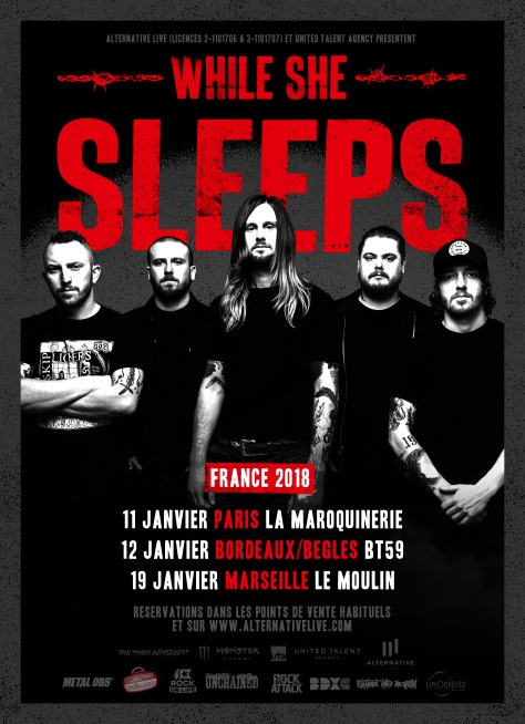 WHILE SHE SLEEPS - Tourneģe FR (avec logos)